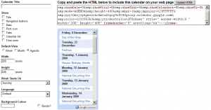Calendar agenda style in mini format
