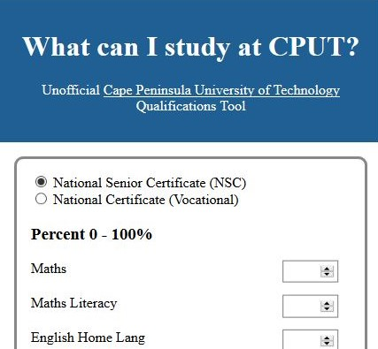 Unofficial CPUT admission requirements app