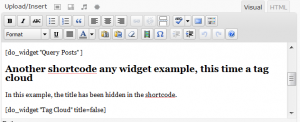 Edit thepage, inserting the do_widget shortcode