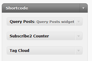 The Shortcode Sidebar - Add the widgets that you wish to use as shortcodes.
