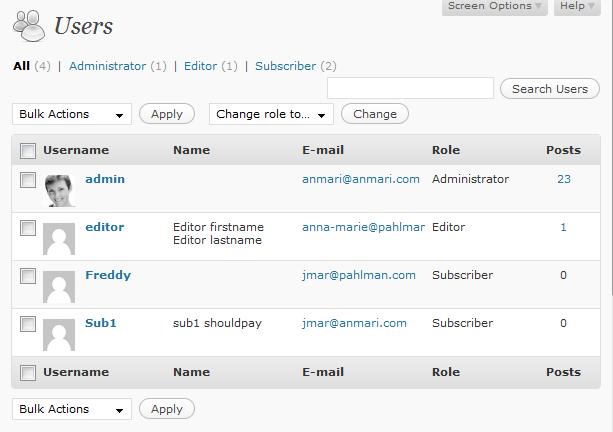 Normal wordpress user list